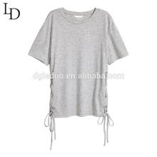 Camisa al por mayor de la blusa de las mujeres del o-cuello de la manera con cordones