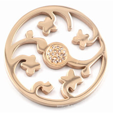Rose Gold Flower Coin Plate avec Champagne Zirconia