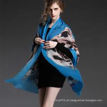 Padrão de tigre longo de lã da menina, impressão digital, xale azul, xale