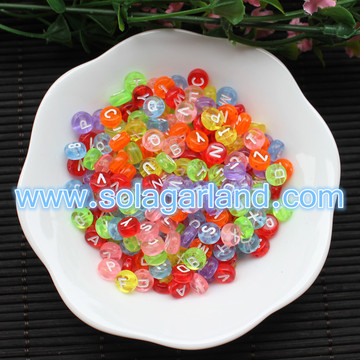 4x7MM Acrylic Mixed Alphabet Letter Coin Round Beads