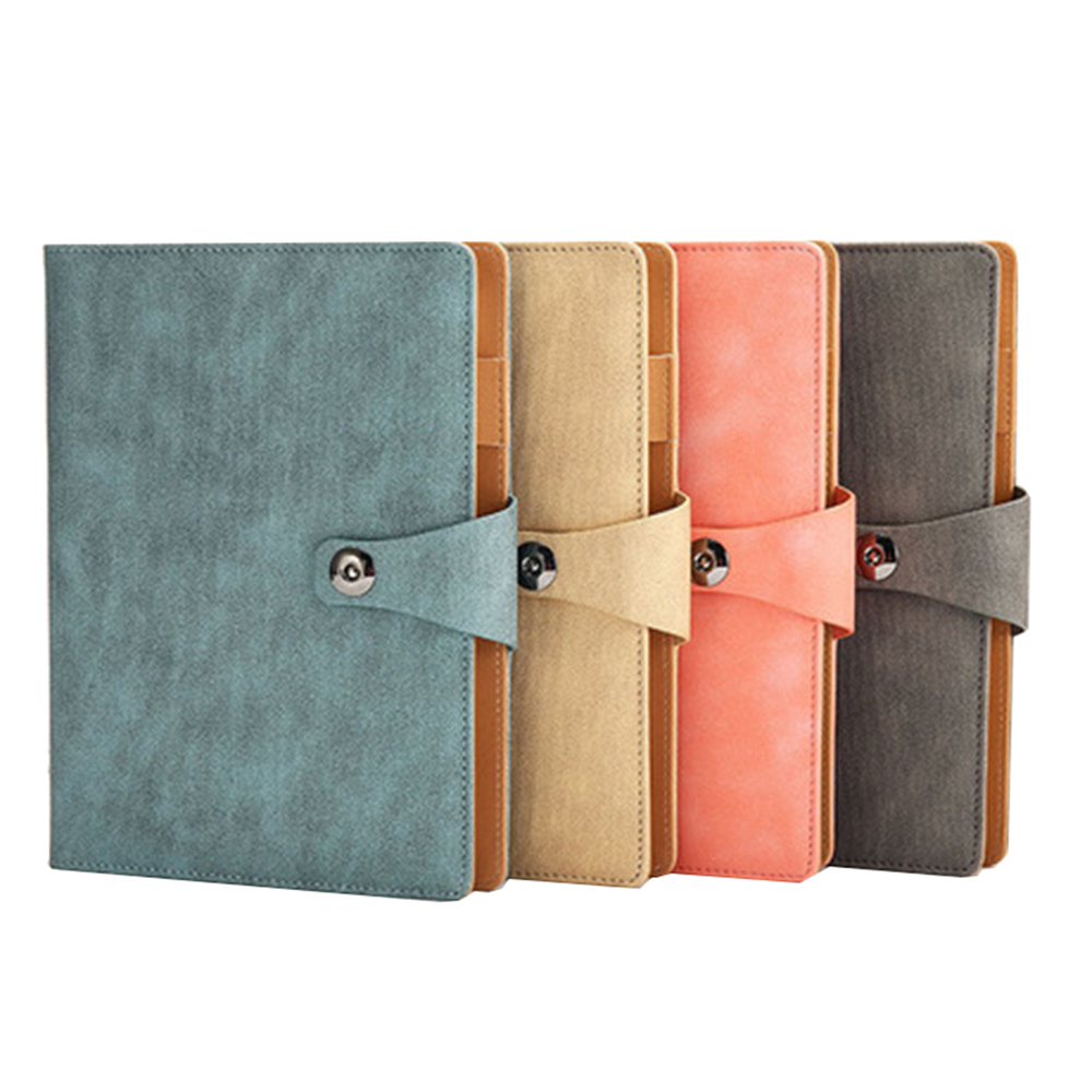 Leather Cover A5 Spiral Bound Notepad With Pen
