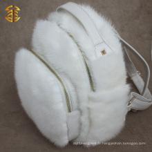 Sac à dos en fourrure et en cuir blanc pour fille le plus récent
