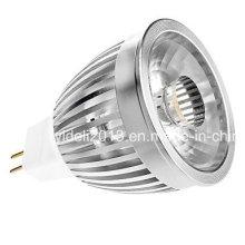 MR16 5W COB 350-390lm 3000k Bombilla blanca caliente del punto de la luz LED (12V)