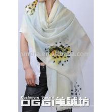 ladies' super thin watercolor printed wool scarf