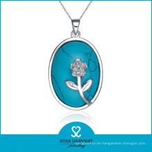 Chinesischer Hersteller Silberschmuck Halskette mit Edelstein (N-0019)