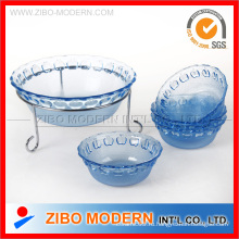 Прозрачная круглая стеклянная чаша для салата