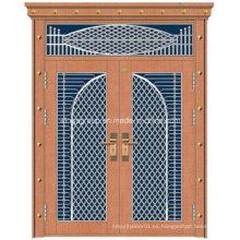 Con la puerta de cobre decorativa de la seguridad del acero del hierro del color de bronce (W-GB-12)