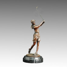 Sports Statue Golf Female Bronze Sculpture, Milo TPE-505