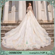 Bella Braut Guangzhou Designer pakistanische Brautkleider Kleider Langarm Brautkleid Brautkleid mit goldenen Spitze und Perlen