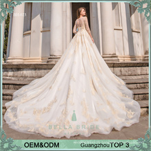 Bella Bride Guangzhou designer pakistani wedding dresses gowns long sleeve wedding dress bridal gown with golden lace and beads