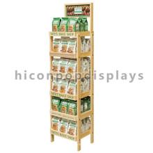 6-Layer Freistehender Ausstellungsstand für Nahrungsmitteleinzelhandelsgeschäft, hölzernes Bäckerei-Brot-Anzeigen für Förderung