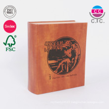 Custom leather cover cardboard book type gift box