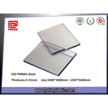 6X1000X2000mm Panel de acrílico transparente acrílico disipativo estático
