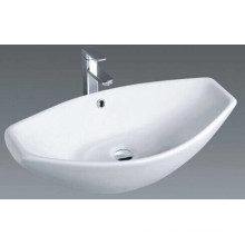 Popular Bathroom White Top Mount Ceramic Wash Basin Sinks (1003)