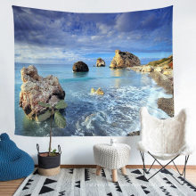 Four Seasons Polyester Tapestry with 3D Printed Beach Pattern