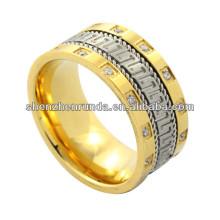 2014 anel de moda, ouro alto polonês anel de aço inoxidável Estilo asiático no verão
