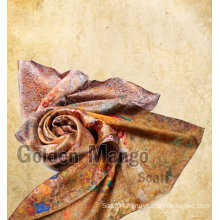 100% silk fashion long printing silk shawl