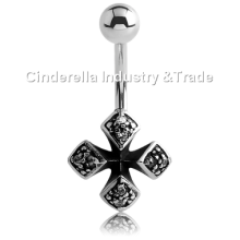 Surgical Steel Kool Katana Iron-Cross Belly Rings