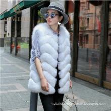 Comfortable costume woman real fox fur vest