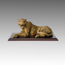 Tier Bronze Skulptur Leopard Carving Messing Statue Tpal-010