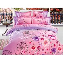 High Quality Bedding Set Reativo Impresso Pink Flower Bed Linen Conjuntos Nantong