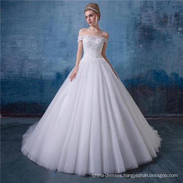 Off shoulder a-line lace wedding dress bridal gown latest design HA581