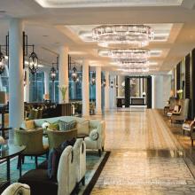 Round design luxury lamp modern light pendants tall crystal chandelier for hotel hall