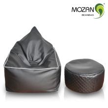 Cuero negro de cuero genuino sala de estar de lujo bean silla