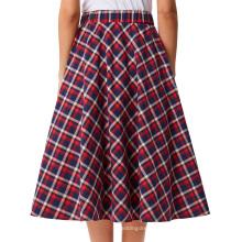 Kate Kasin Women's Vintage Fashion Grid Pattern Plaid A-Line Skirt KK000495-1