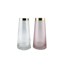 Clear &Pink Glass Vase With Gold Rim