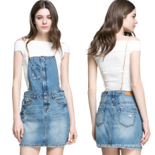 2016 mujeres de moda Mini Short Denim Braces Falda