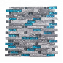 Glossy Strip Stone and Blue Marble Glass Mosaic Tile for Kitchen Backsplash