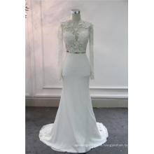 Elegant Long Sleeve Lace Soft Satin Mermaid Evening Bridal Wedding Dress