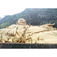 Fengshui ao ar livre decoração de metal artesanato bronze feliz estátuas de buda para venda