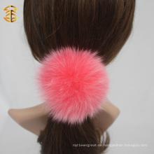 Bunte kundenspezifische echte Fuchs Pelz Ball elastische Haar Band