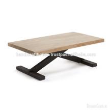 Table de console Industrial Acacia Wood et Black Finish Metal Cross Legs