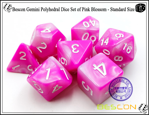 Bescon Gemini Polyhedral Dice Set of Pink Blossom-3