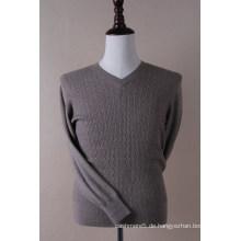 Männer V-Ausschnitt Kabel Pullover