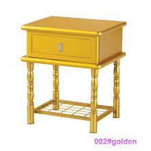 Mesa de cabeceira moderna de madeira dourada e mesa de cabeceira de metal (002 # dourada)