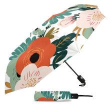 Customized Company Logo Printed Floral Self Open Auto Travel Umbrella