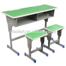 2018 новый дизайн металлический каркас деревянной столешницей и сиденьем школьника рабочий стол дизайн