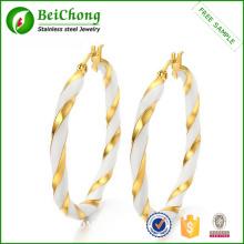 Stainless steel gold Circle hoop earring with enamel