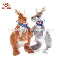 Brinquedo de pelúcia canguru recheado de tamanho grande fábrica OEM para bebê