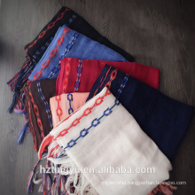 Fashion new design selling dubaiwhosale embroider chain plain viscose tassel hijabs