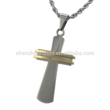 Moda pingente de cruz de aço inoxidável
