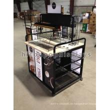 Black Metal Floor Standing Einzelhandel Shop Coffe Bar Merchandising Equipment Kundenspezifische Movable Display Rack