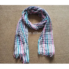 Fashion women 100 cotton tartan frayed plaid scarf