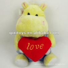 mignon peluche hippopotame jaune jouet