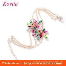 Горячий сбывание искривая кристаллический цветок три тонкий золотой браслет линии китайский кристалл