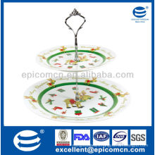 2 layers porcelain cake stand of double-deck plate
